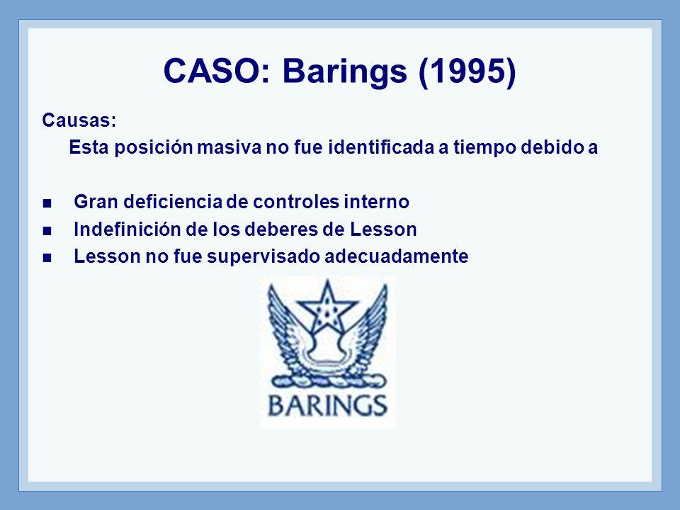 CASO: Barings (1995) Causas: Esta posición masiva no fue identificada a tiempo debido a Gran deficiencia de controles interno Indefinición de los deberes de Lesson Lesson no fue supervisado adecuadamente