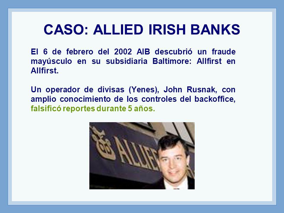 CASO: ALLIED IRISH BANKS El 6 de febrero del 2002 AIB descubrió un fraude mayúsculo en su subsidiaria Baltimore: Allfirst en Allfirst.