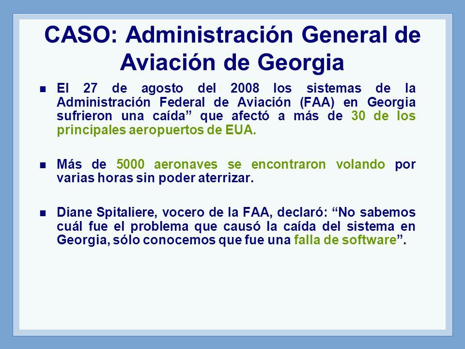 El 27 de agosto del 2008 los sistemas de la Administración Federal de Aviación (FAA) en Georgia sufrieron una caída que afectó a más de 30 de los principales aeropuertos de EUA.