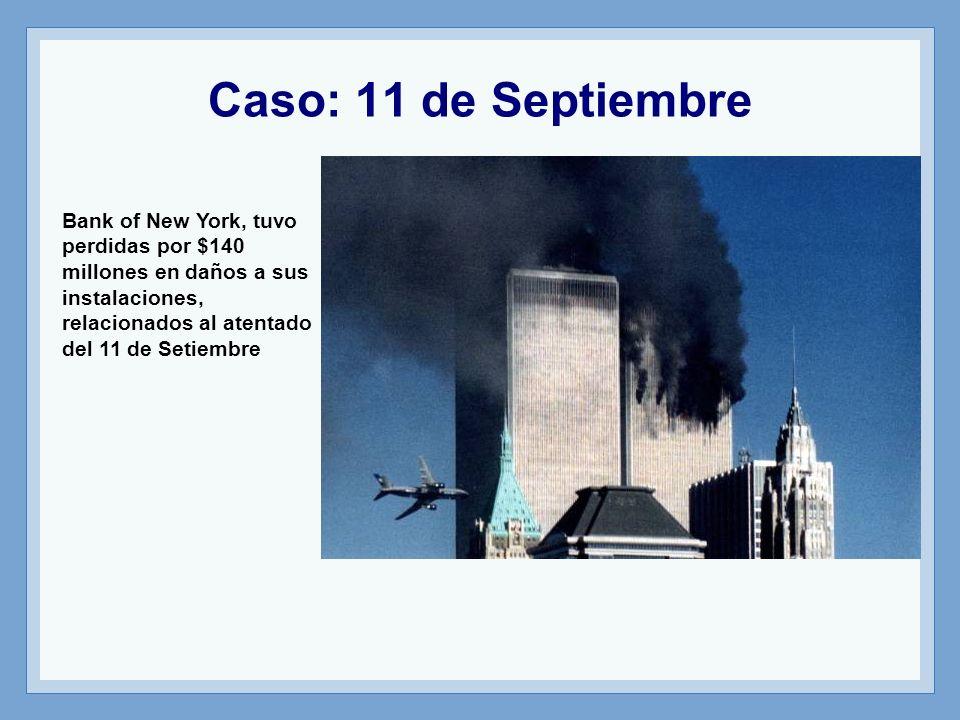 Caso: 11 de Septiembre Bank of New York, tuvo perdidas por $140 millones en daños a sus instalaciones, relacionados al atentado del 11 de Setiembre
