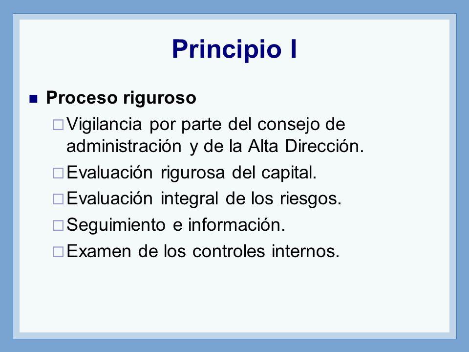 Principio I Proceso riguroso Vigilancia por parte del consejo de administración y de la Alta Dirección.