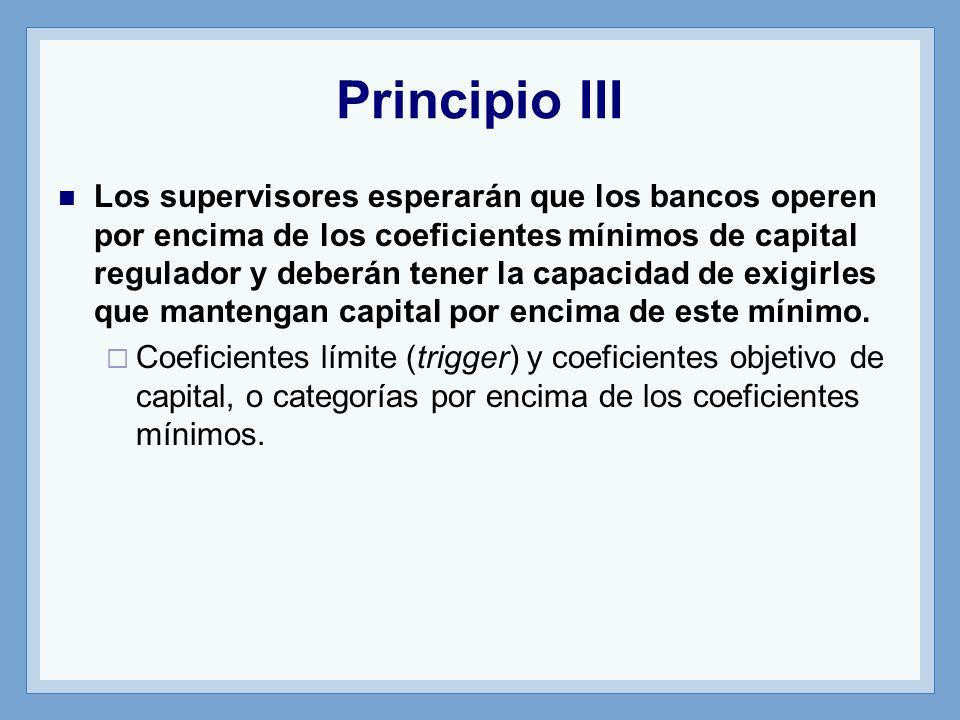 Principio III Los supervisores esperarán que los bancos operen por encima de los coeficientes mínimos de capital regulador y deberán tener la capacidad de exigirles que mantengan capital por encima de este mínimo.
