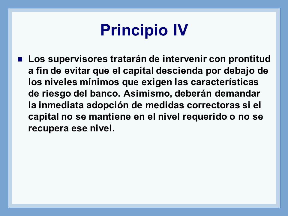 Principio IV Los supervisores tratarán de intervenir con prontitud a fin de evitar que el capital descienda por debajo de los niveles mínimos que exigen las características de riesgo del banco.
