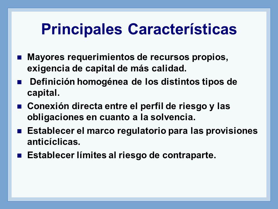 Principales Características Mayores requerimientos de recursos propios, exigencia de capital de más calidad.
