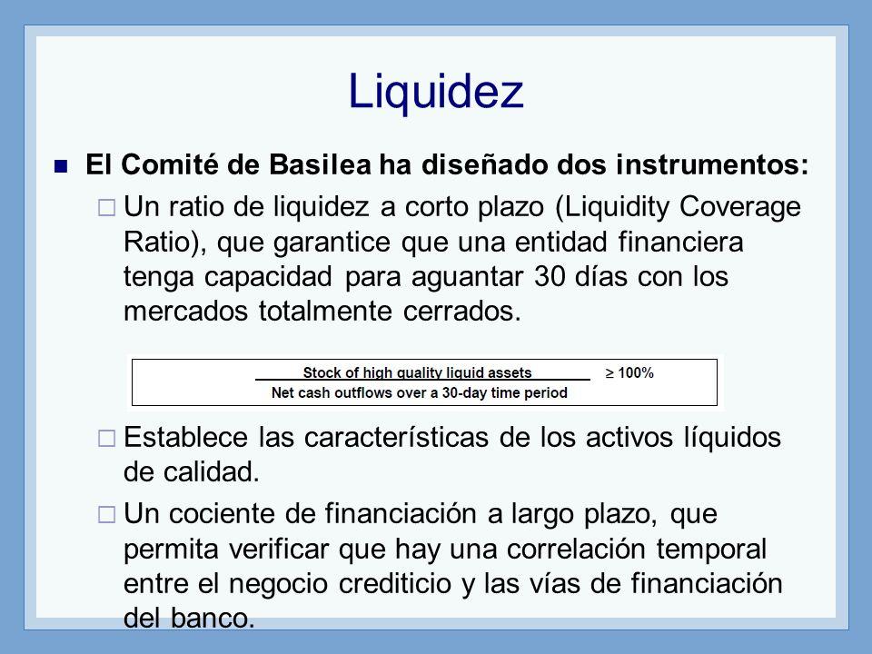 Liquidez El Comité de Basilea ha diseñado dos instrumentos: Un ratio de liquidez a corto plazo (Liquidity Coverage Ratio), que garantice que una entidad financiera tenga capacidad para aguantar 30 días con los mercados totalmente cerrados.