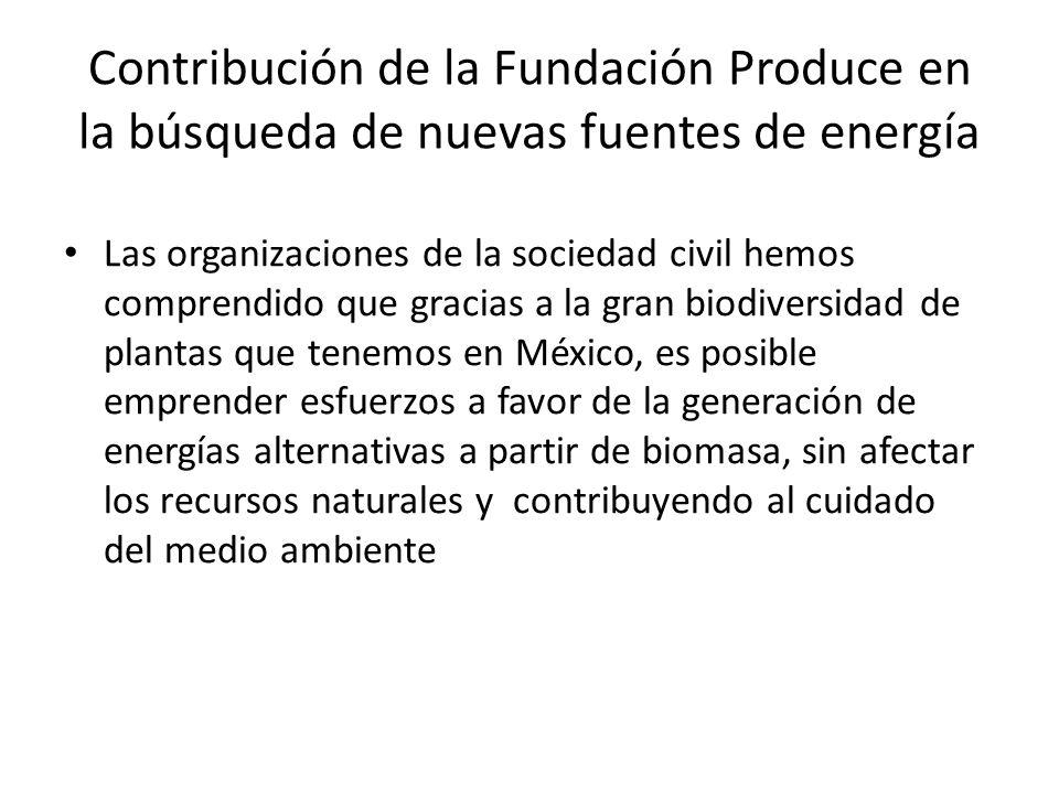 Contribución de la Fundación Produce en la búsqueda de nuevas fuentes de energía Las organizaciones de la sociedad civil hemos comprendido que gracias