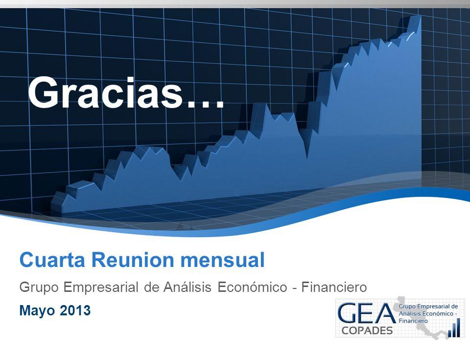 Gracias… Cuarta Reunion mensual Grupo Empresarial de Análisis Económico - Financiero Mayo 2013