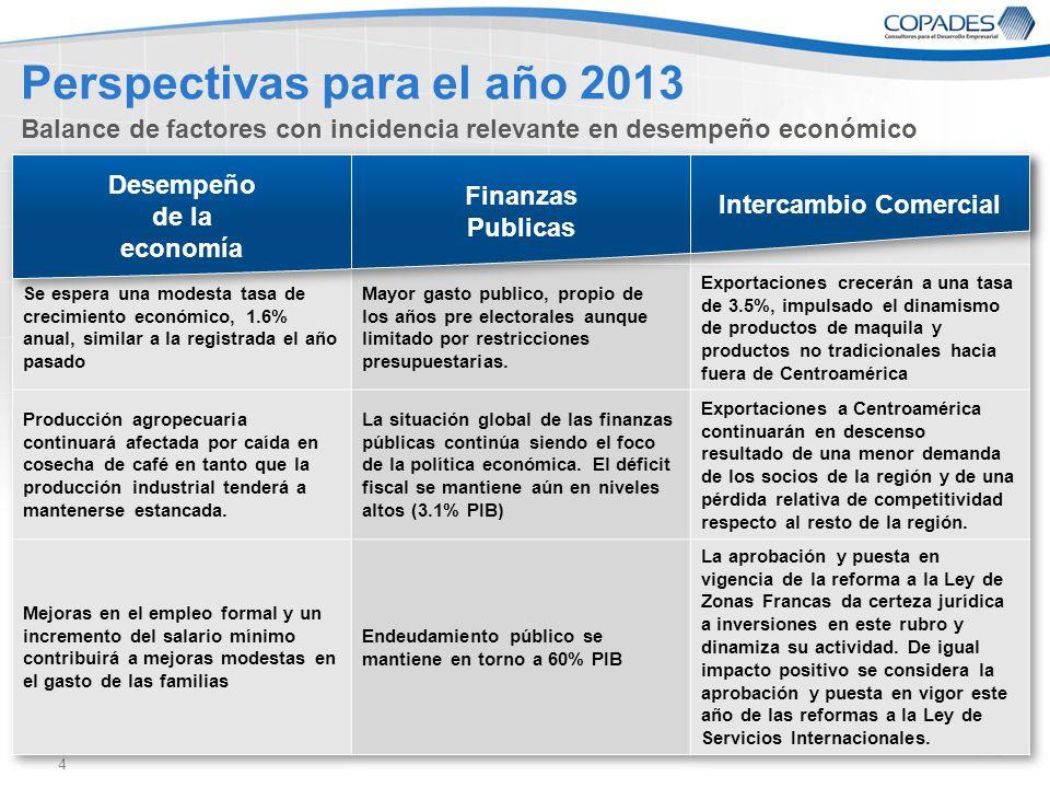 4 Perspectivas para el año 2013 Balance de factores con incidencia relevante en desempeño económico