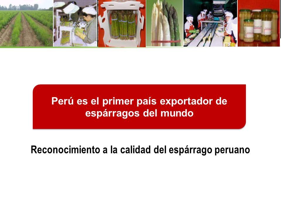 Reconocimiento a la calidad del espárrago peruano Perú es el primer país exportador de espárragos del mundo
