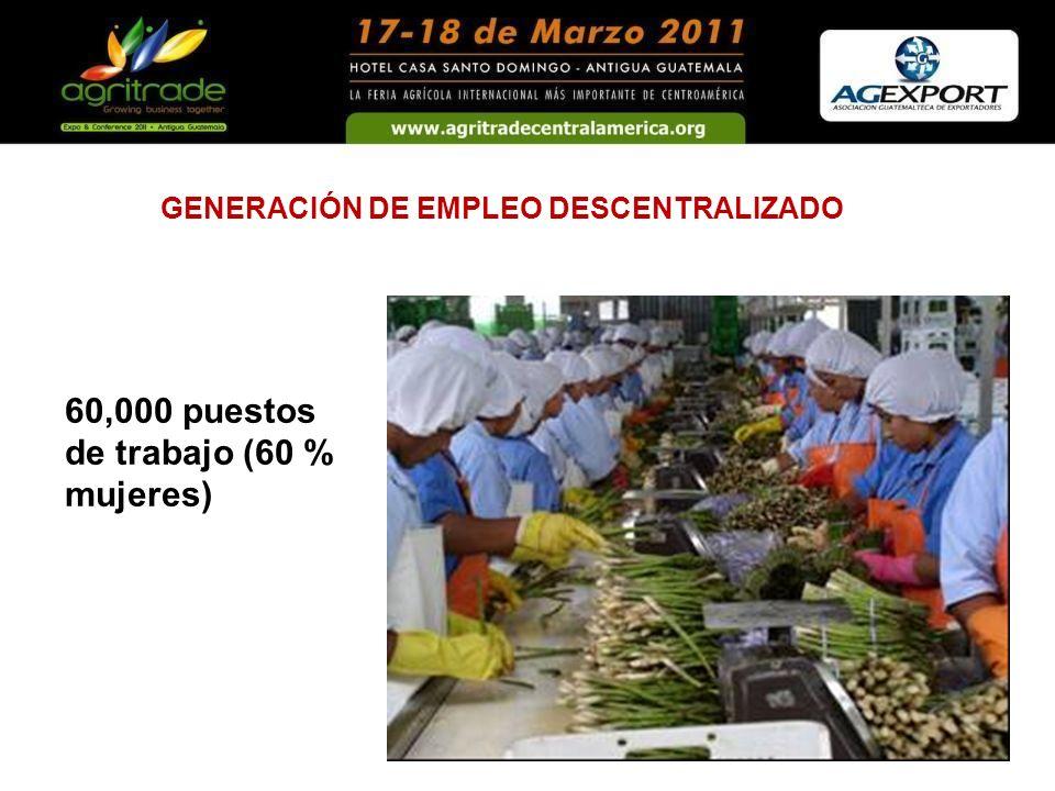 60,000 puestos de trabajo (60 % mujeres) GENERACIÓN DE EMPLEO DESCENTRALIZADO