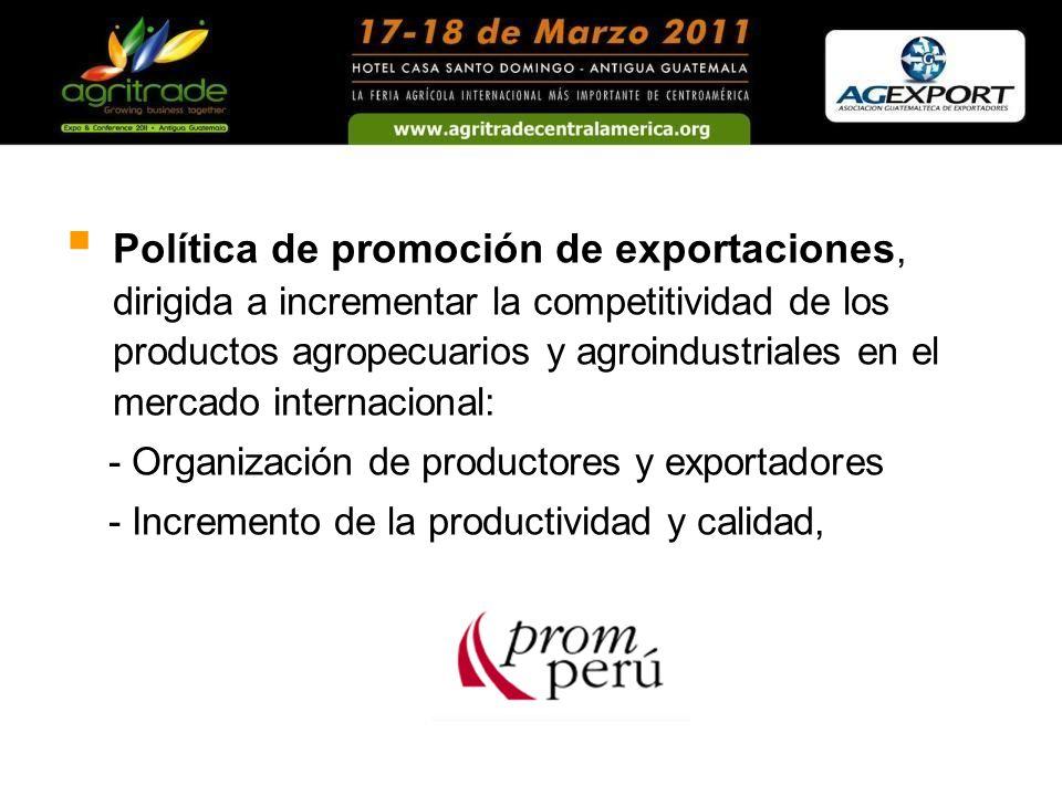 Política de promoción de exportaciones, dirigida a incrementar la competitividad de los productos agropecuarios y agroindustriales en el mercado inter