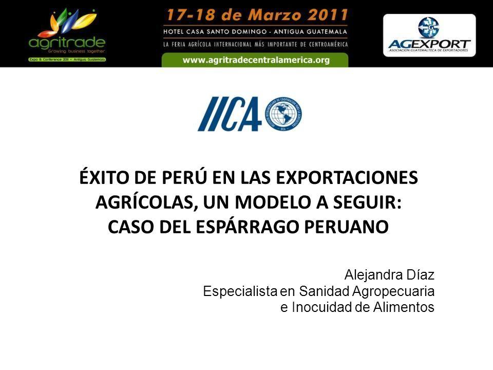 Alejandra Díaz Especialista en Sanidad Agropecuaria e Inocuidad de Alimentos ÉXITO DE PERÚ EN LAS EXPORTACIONES AGRÍCOLAS, UN MODELO A SEGUIR: CASO DE