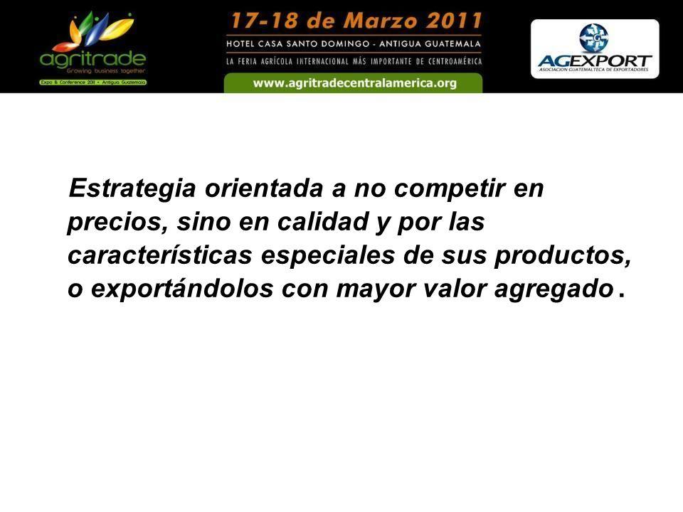 Estrategia orientada a no competir en precios, sino en calidad y por las características especiales de sus productos, o exportándolos con mayor valor