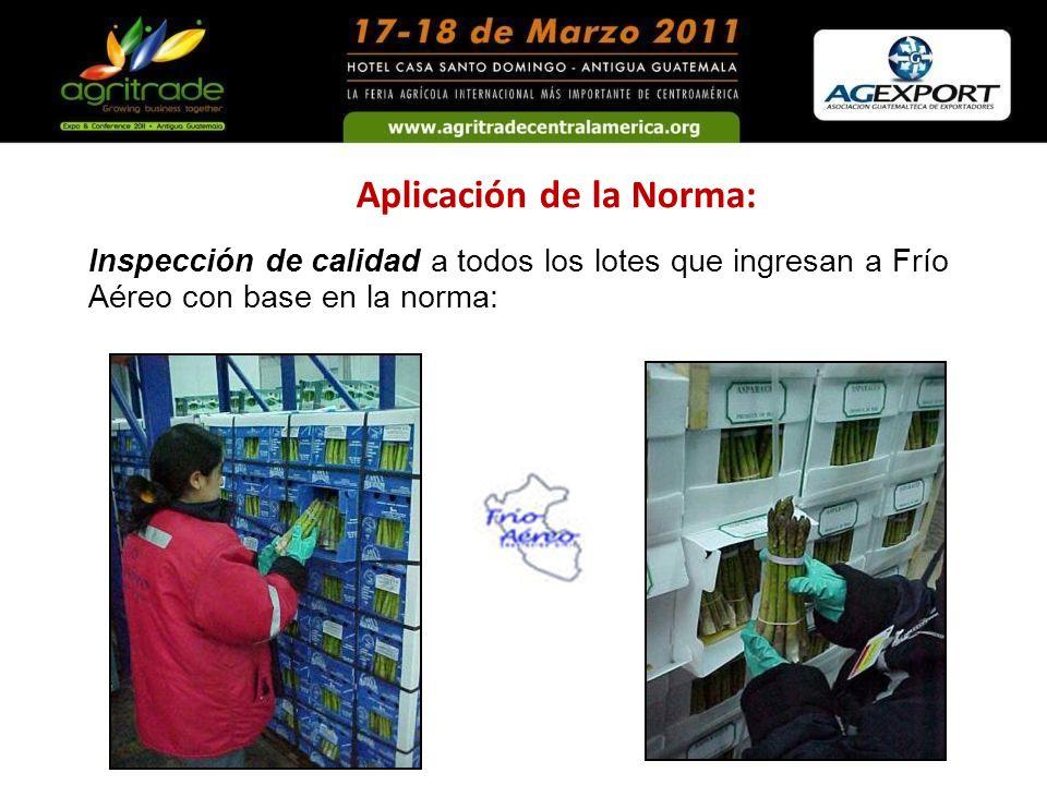 Aplicación de la Norma: Inspección de calidad a todos los lotes que ingresan a Frío Aéreo con base en la norma: