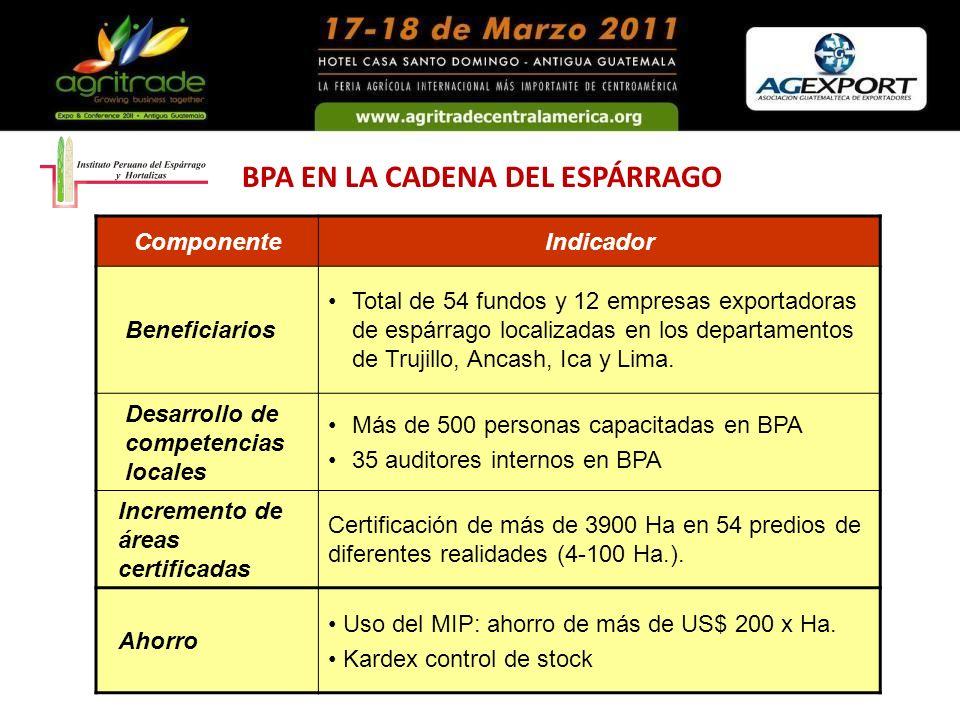 BPA EN LA CADENA DEL ESPÁRRAGO ComponenteIndicador Beneficiarios Total de 54 fundos y 12 empresas exportadoras de espárrago localizadas en los departa