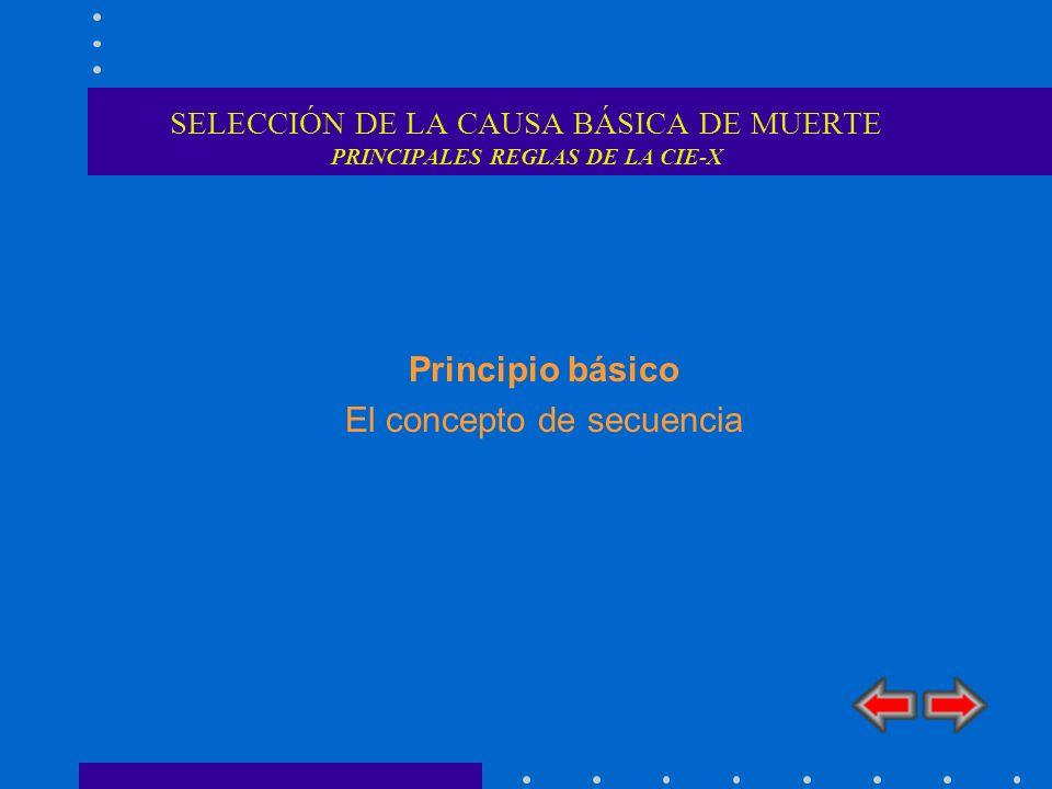 SELECCIÓN DE LA CAUSA BÁSICA DE MUERTE PRINCIPALES REGLAS DE LA CIE-X Principio básico El concepto de secuencia
