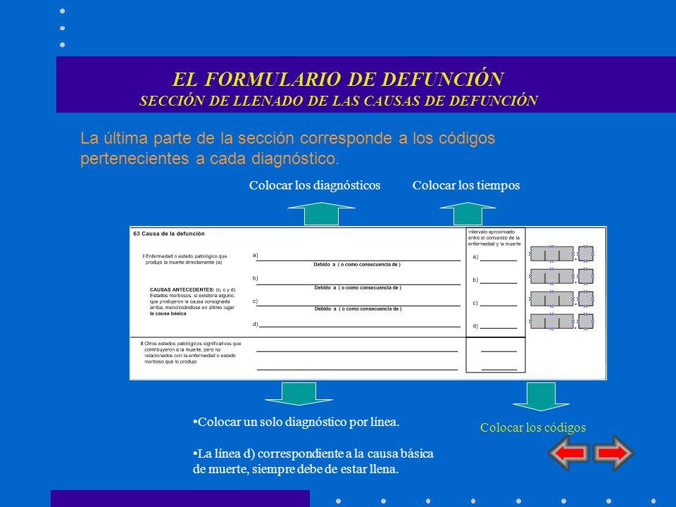 CAUSAS DE MUERTE CAUSA TERMINAL En la linea I a) Causa Terminal Se anota la enfermedad final que condujo directamente a la muerte.