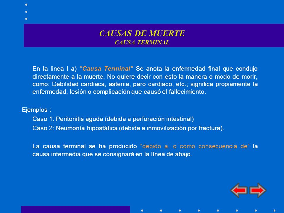 CAUSAS DE MUERTE CAUSA TERMINAL En la linea I a)
