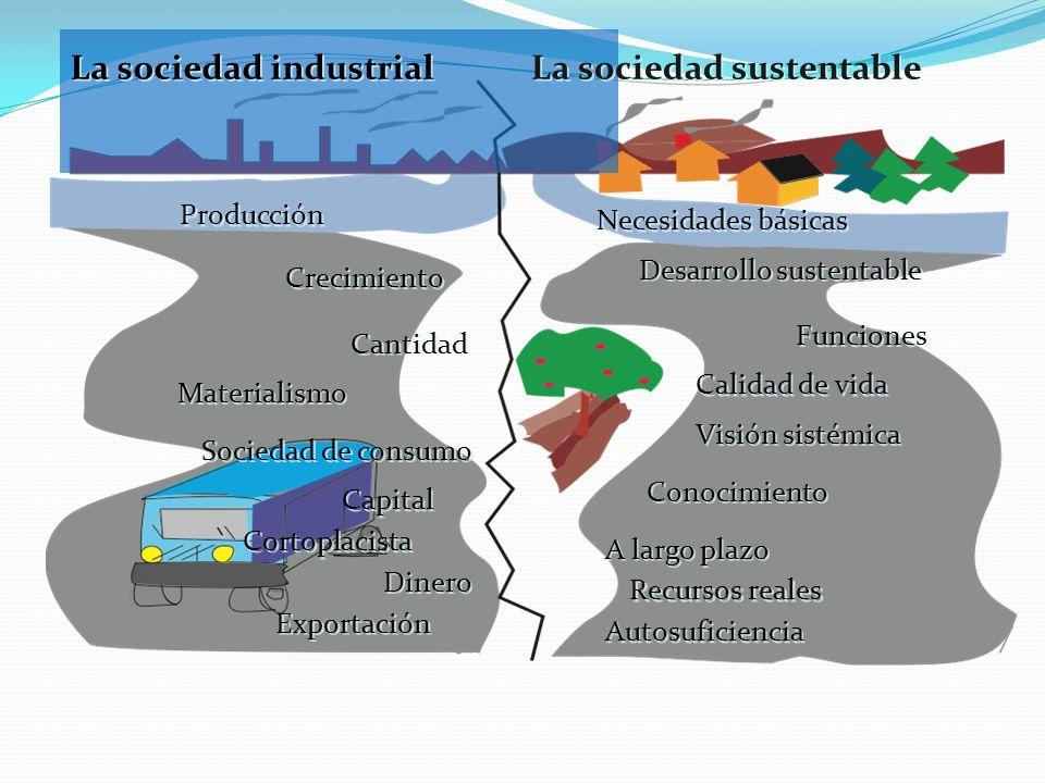 Producción Crecimiento Cantidad Sociedad de consumo Cortoplacista Capital Materialismo Dinero Exportación La sociedad industrial La sociedad sustentab