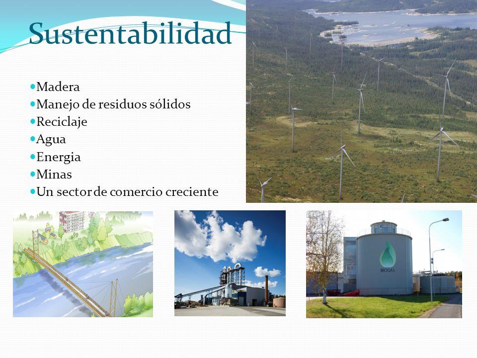 Sustentabilidad Madera Manejo de residuos sólidos Reciclaje Agua Energia Minas Un sector de comercio creciente