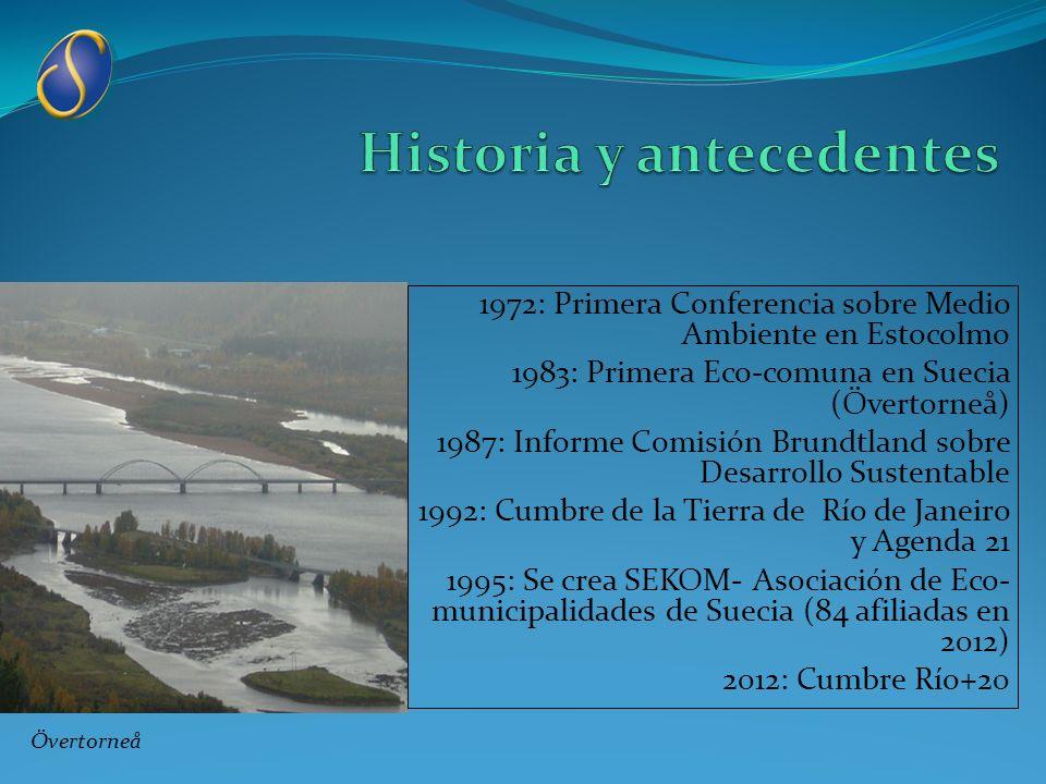 1972: Primera Conferencia sobre Medio Ambiente en Estocolmo 1983: Primera Eco-comuna en Suecia (Övertorneå) 1987: Informe Comisión Brundtland sobre De