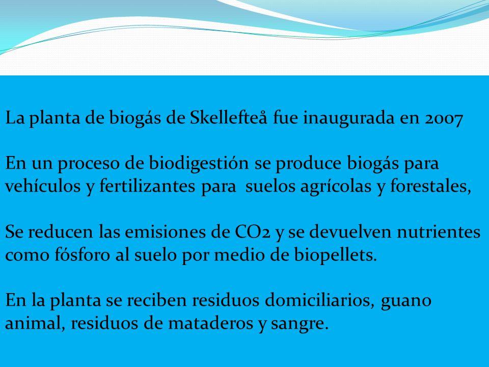 La planta de biogás de Skellefteå fue inaugurada en 2007 En un proceso de biodigestión se produce biogás para vehículos y fertilizantes para suelos ag