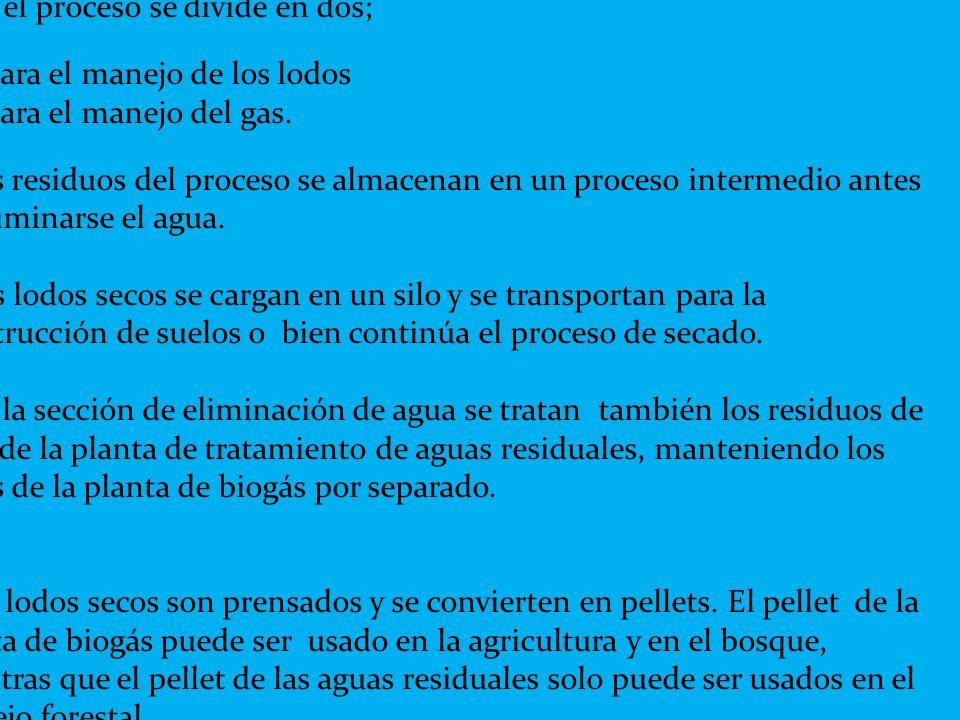 Aquí el proceso se divide en dos; 1. para el manejo de los lodos 2. para el manejo del gas. Los residuos del proceso se almacenan en un proceso interm