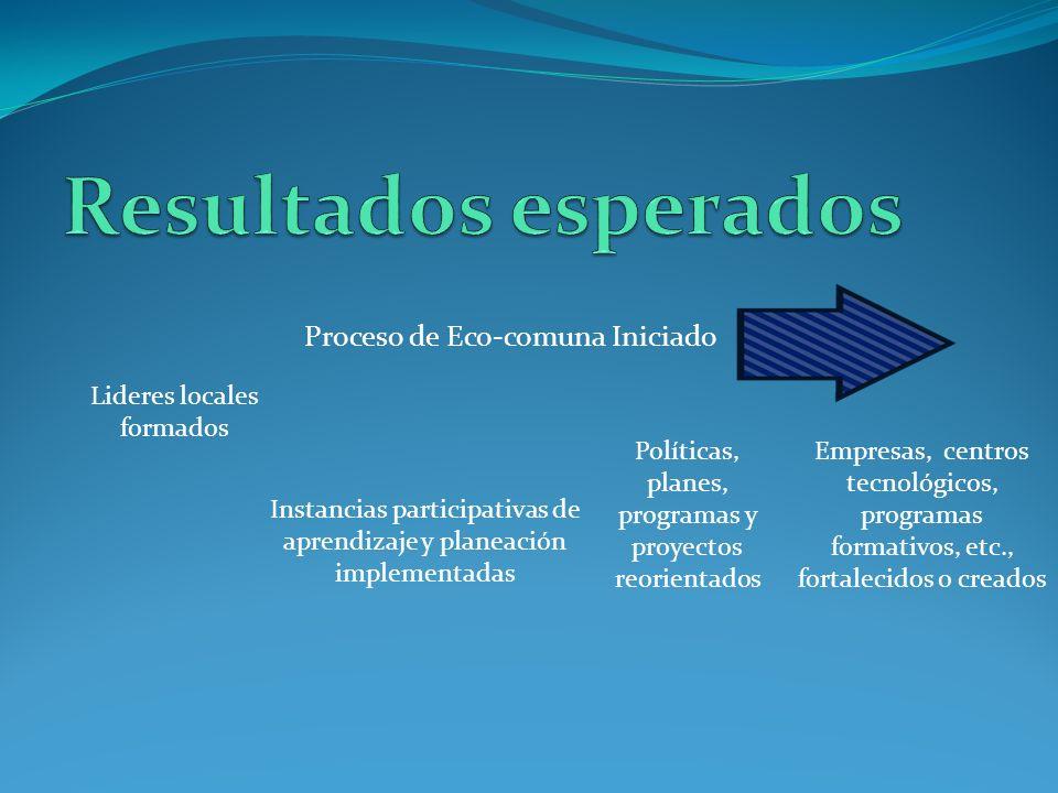 Proceso de Eco-comuna Iniciado Lideres locales formados Instancias participativas de aprendizaje y planeación implementadas Políticas, planes, program