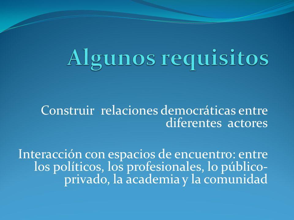 Construir relaciones democráticas entre diferentes actores Interacción con espacios de encuentro: entre los políticos, los profesionales, lo público-