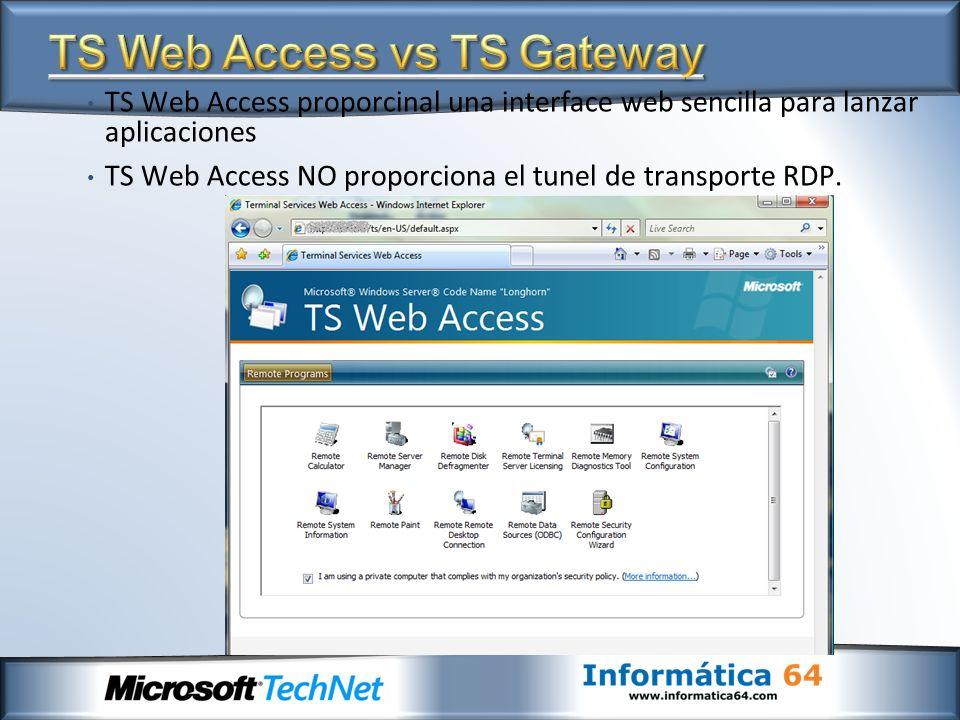 TS Web Access proporcinal una interface web sencilla para lanzar aplicaciones TS Web Access NO proporciona el tunel de transporte RDP.