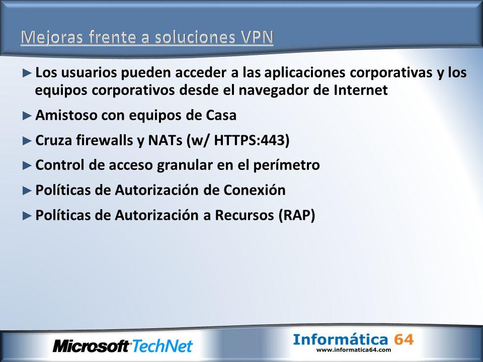 Los usuarios pueden acceder a las aplicaciones corporativas y los equipos corporativos desde el navegador de Internet Amistoso con equipos de Casa Cru