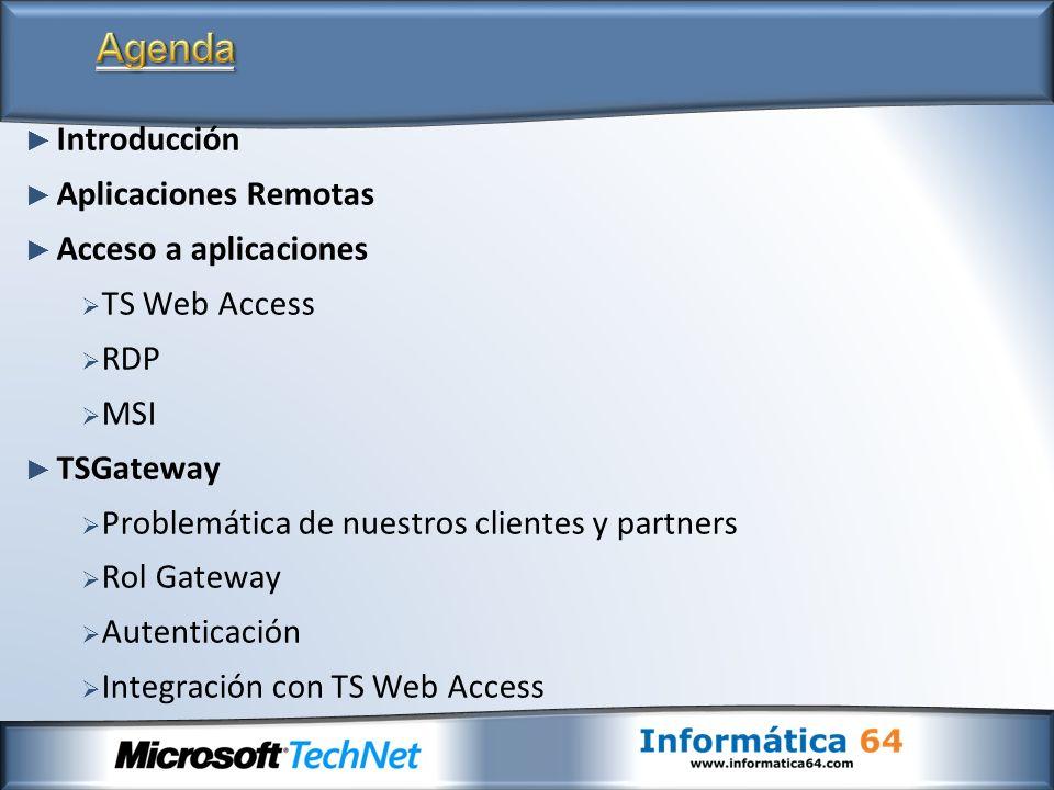 Introducción Aplicaciones Remotas Acceso a aplicaciones TS Web Access RDP MSI TSGateway Problemática de nuestros clientes y partners Rol Gateway Auten