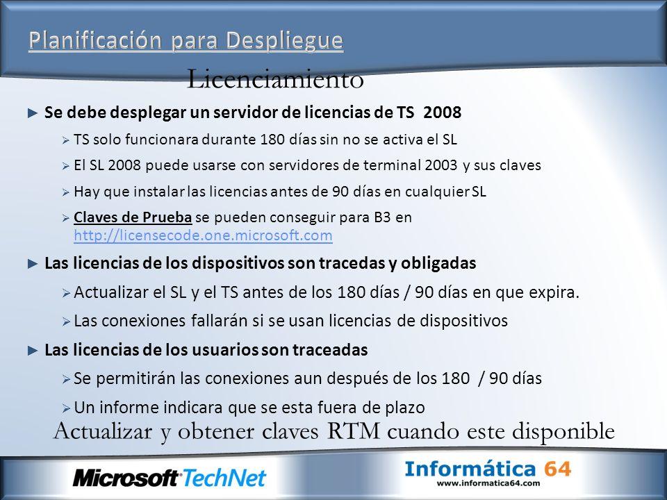 Se debe desplegar un servidor de licencias de TS 2008 TS solo funcionara durante 180 días sin no se activa el SL El SL 2008 puede usarse con servidore