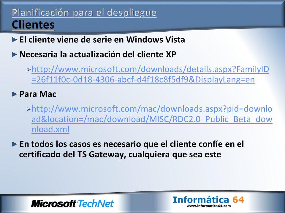El cliente viene de serie en Windows Vista Necesaria la actualización del cliente XP http://www.microsoft.com/downloads/details.aspx?FamilyID =26f11f0