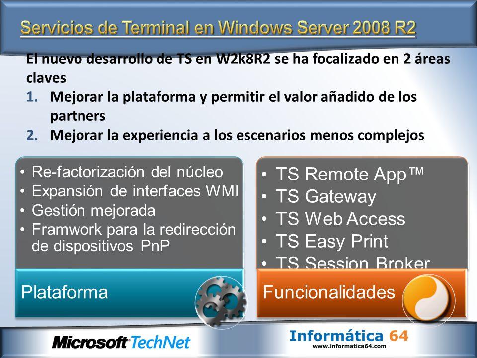 El nuevo desarrollo de TS en W2k8R2 se ha focalizado en 2 áreas claves 1.Mejorar la plataforma y permitir el valor añadido de los partners 2.Mejorar l