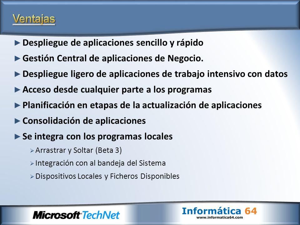 Despliegue de aplicaciones sencillo y rápido Gestión Central de aplicaciones de Negocio. Despliegue ligero de aplicaciones de trabajo intensivo con da