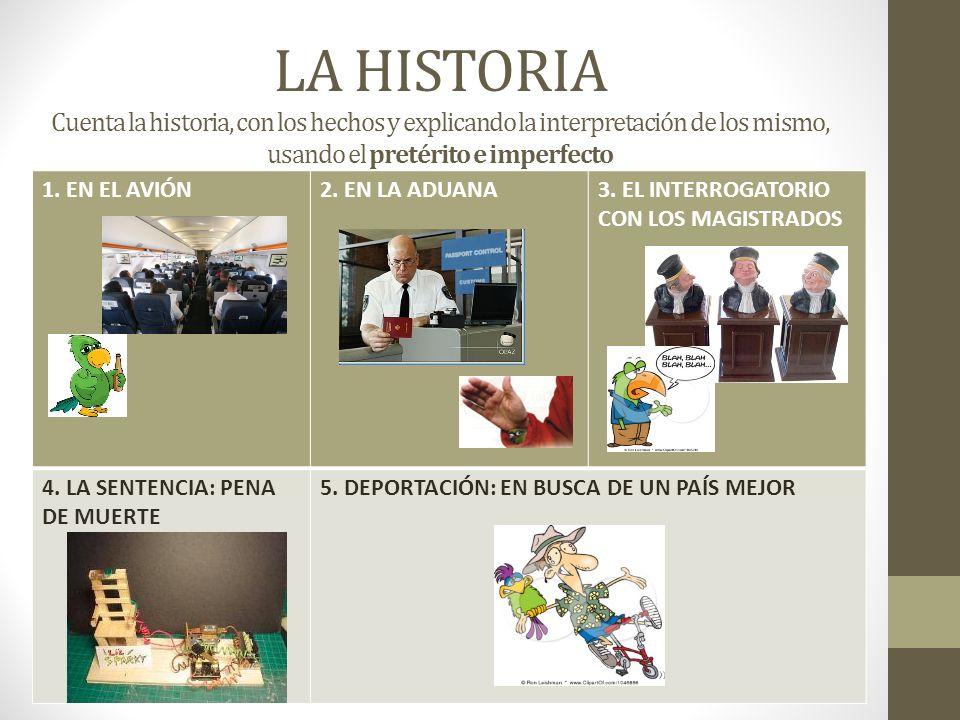 LA HISTORIA Cuenta la historia, con los hechos y explicando la interpretación de los mismo, usando el pretérito e imperfecto 1.