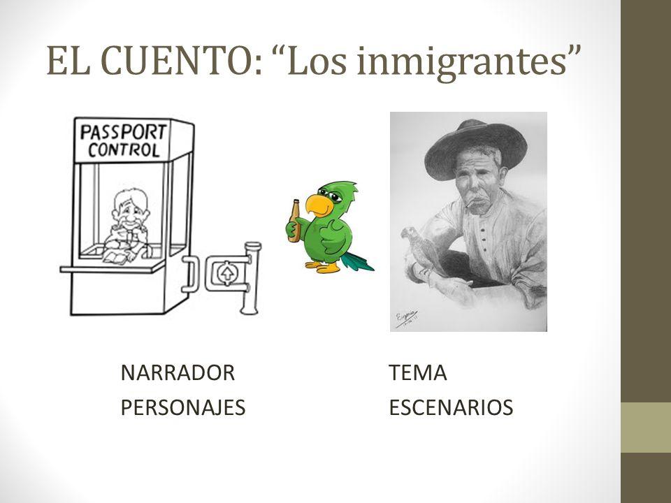 EL CUENTO: Los inmigrantes NARRADORTEMA PERSONAJESESCENARIOS