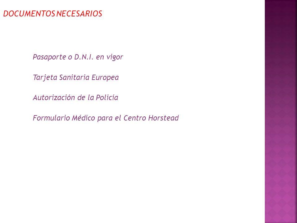 DOCUMENTOS NECESARIOS Pasaporte o D.N.I.
