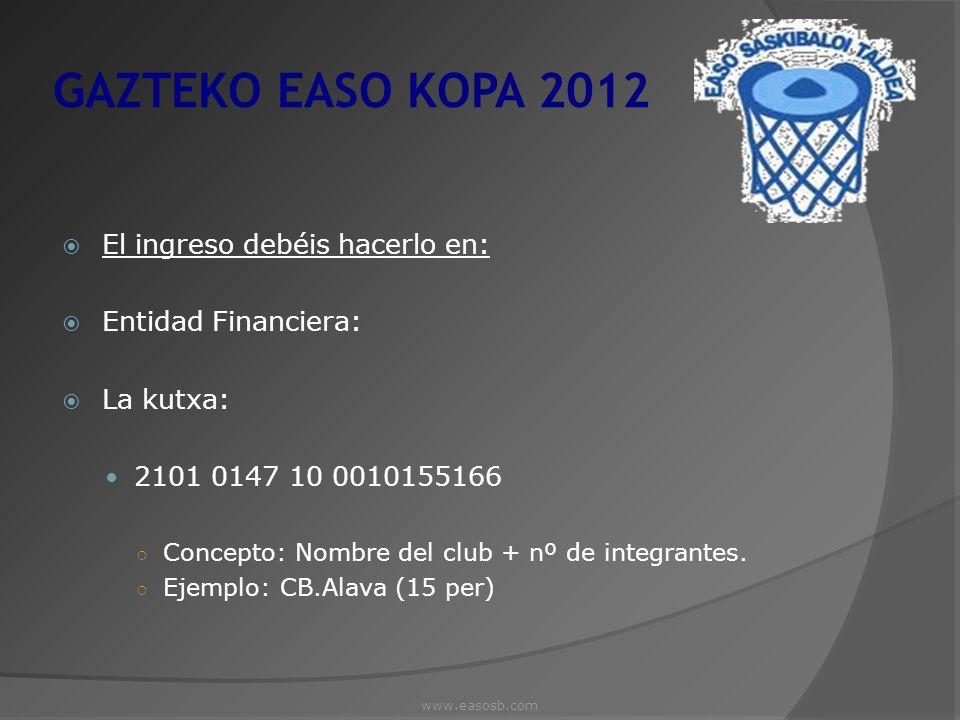 GAZTEKO EASO KOPA 2012 El ingreso debéis hacerlo en: Entidad Financiera: La kutxa: 2101 0147 10 0010155166 Concepto: Nombre del club + nº de integrant