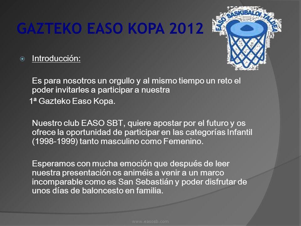GAZTEKO EASO KOPA 2012 Lugar y Fecha del Torneo: Las fechas de la 1ª Gazteko Easo Kopa serán 9 y 10 de Junio, habiendo la posibilidad de llegar la noche del 8.