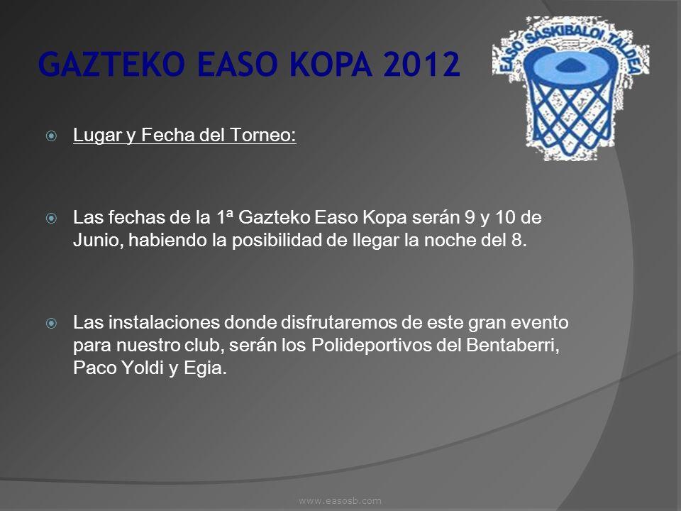 GAZTEKO EASO KOPA 2012 Lugar y Fecha del Torneo: Las fechas de la 1ª Gazteko Easo Kopa serán 9 y 10 de Junio, habiendo la posibilidad de llegar la noc
