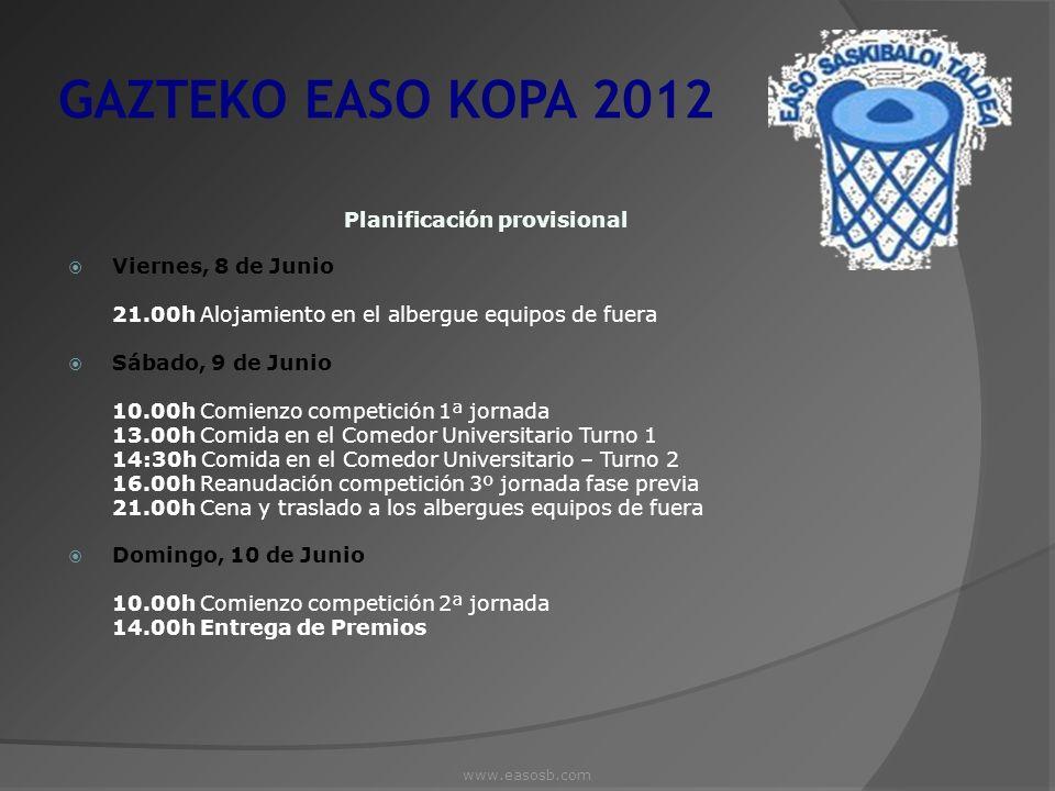 GAZTEKO EASO KOPA 2012 Planificación provisional Viernes, 8 de Junio 21.00h Alojamiento en el albergue equipos de fuera Sábado, 9 de Junio 10.00h Comi