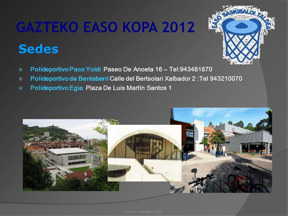 GAZTEKO EASO KOPA 2012 Sedes Polideportivo Paco Yoldi Paseo De Anoeta 16 – Tel:943481870 Polideportivo de Bentaberri Calle del Bertsolari Xalbador 2 :