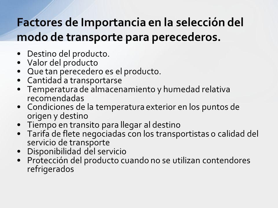 Densidad del producto (Costos de transporte inversamente proporcionales a la densidad del producto. Facilidad de llenado del medio de transporte (por