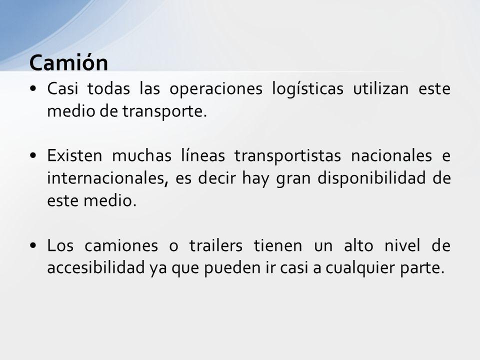 Camión Las condiciones climáticas si pueden afectar en gran medida a este medio de transporte. Se transportan productos de todo tipo, caros y baratos.
