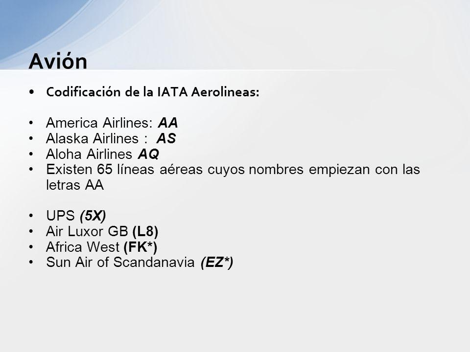 Codificación de la IATA Aeropuertos: –Una primera opción: Nombre de la ciudad GDL para Guadalajara MTY para Monterrey LPB para La Paz, Bolivia - Una s