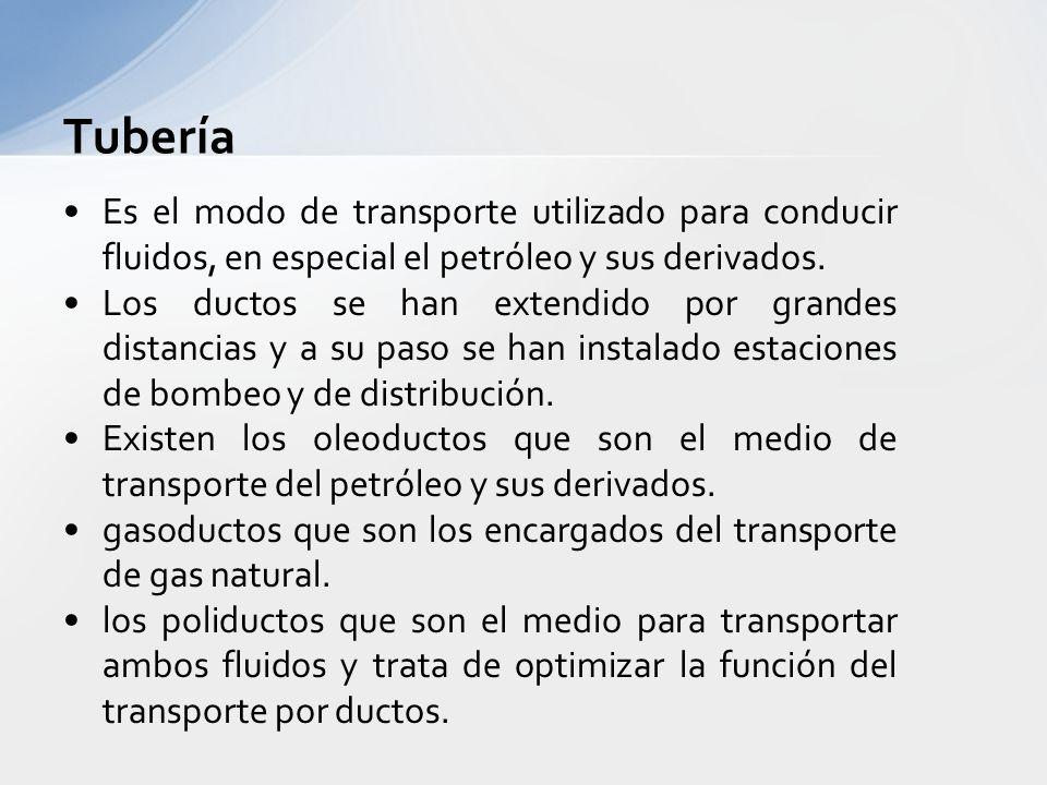 Tubería Es el medio más barato de transporte que se conoce, utiliza mucho la gravedad. El diámetro de las tuberías puede variar de 3 a 48 pulgadas. El