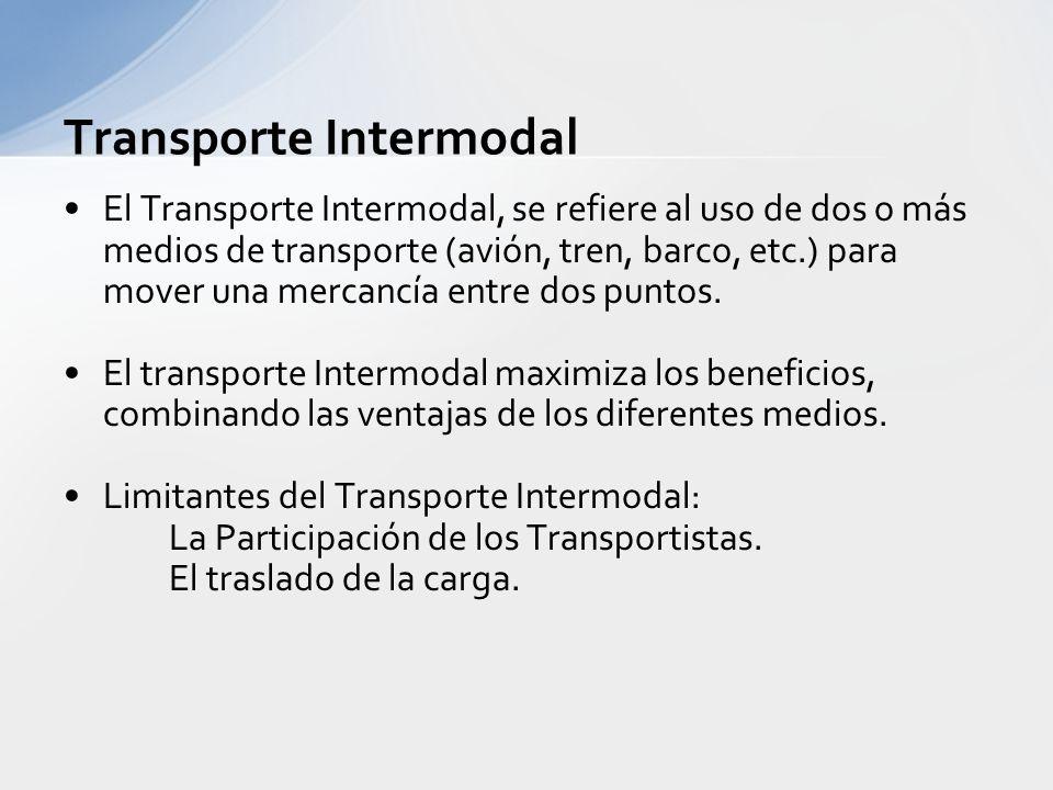Transporte Intermodal y Multimodal Tráfico Intermodal: –Se refiere a 2 o más modos de transporte Transporte Multimodal: –Se refiere a varios modos de