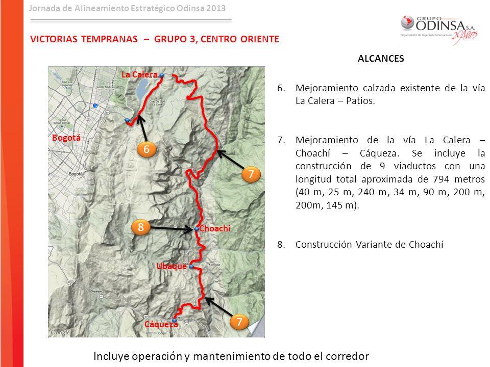Jornada de Alineamiento Estratégico Odinsa 2013 VICTORIAS TEMPRANAS – GRUPO 3, CENTRO ORIENTE ALCANCES 6.Mejoramiento calzada existente de la vía La C
